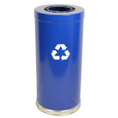 Steel Single Recycling Trash Container, Blue, 15 Gal.