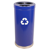 Steel Combo Recycling Trash Container, Blue, 24 Gal.
