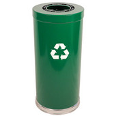 Steel Single Recycling Trash Container, Green, 15 Gal.