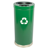 Steel Combo Recycling Trash Container, Green, 24 Gal.
