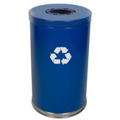 Steel Single Recycling Trash Container, Blue, 23 Gal.