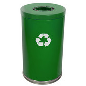 Steel Single Recycling Trash Container, Green, 23 Gal.