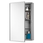 Jensen (Formerly Broan) S-cube Surface Mount 1 Door Medicine Cabinet w/ Brushed Stainless Steel Finish, Polished Stainless Steel Frame, Stainless Steel Construction w/ 3 Adjustable Steel Shelves & 1 Fixed Shelf, 16''W x 5''D x 26''H