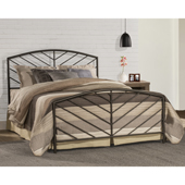 Essex Full Size Metal Bed Set with Headboard, Footboard and Rails in Speckled Pewter Finish