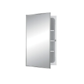 Jensen (Formerly Broan) Styleline Recess Mount 1 Door Medicine Cabinet w/ Basic White Finish, Polished Stainless Steel Frame, Steel Construction w/ 2 Adjustable Steel Shelves, 16''W x 4-1/2''D x 26''H