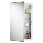 Jensen (Formerly Broan) Styleline Recess Mount 1 Door Medicine Cabinet w/ Basic White Finish, Polished Stainless Steel Frame, Steel Construction w/ 2 Adjustable Steel Shelves, 16''W x 5-1/4''D x 26''H