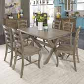 Flexsteel® Mountain Lodge Rectangular Trestle Dining Table & 6 Chairs In Multi-Colored Gray, 60''W x 38-1/4''D x 30''H