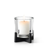Nero Tabletop Pillar Candle Holder, Black Matte Finish, Medium