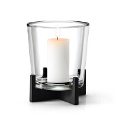 Nero Tabletop Pillar Candle Holder, Black Matte Finish, Large