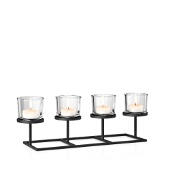 Nero Tealight Holder With Rectangle Base, Black Matte Finish