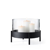 Nero Pillar Candle Tray, Black Matte Finish