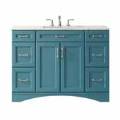 Naples Vanity in Royal�Green with Carrara White Marble Countertop Without Mirror 47-3/16''W x 21-5/8''D x 35-3/16''H