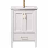 Gela 24'' Width Vanity in White with White Drop-In Ceramic Basin Without Mirror, 24''W x 19-11/16''D x 34-7/16''H