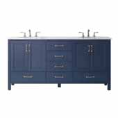Gela Double Vanity in Royal�Blue with Carrara White Marble Countertop Without Mirror 70-13/16''W x 21-3/8''D x 35-3/8''H
