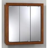 Jensen (Formerly Broan) Granville Surface Mount 3 Door Medicine Cabinet w/ Honey Oak Finish, Honey Oak Frame, Particle Board PVC Laminate Construction w/ 2 Fixed Particle Board Shelves, 24''W x 4-3/4''D x 24''H