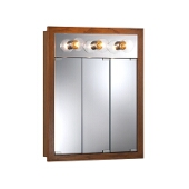 Jensen (Formerly Broan) Granville Surface Mount 3 Door Lighted Medicine Cabinet w/ Honey Oak Finish, Honey Oak Frame, Particle Board PVC Laminate Construction w/ 2 Fixed Particle Board Shelves, 24''W x 4-3/4''D x 30''H