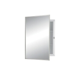 Jensen (Formerly Broan) Builder Series Recess Mount 1 Door Medicine Cabinet w/ Basic White Finish, Polished Stainless Steel Frame, Plastic Construction w/ 2 Fixed Plastic Shelves, 16''W x 3-3/4''D x 22''H