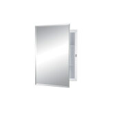 Jensen (Formerly Broan) Builder Series Recess Mount 1 Door Medicine Cabinet w/ Basic White Finish, Frameless Mirror, Plastic Construction w/ 2 Fixed Plastic Shelves, 16''W x 3-3/4''D x 22''H