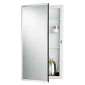 Jensen (Formerly Broan) Builder Series Recess Mount 1 Door Medicine Cabinet w/ Basic White Finish, Frameless Mirror, Plastic Construction w/ 3 Fixed Plastic Shelves, 16''W x 3-3/4''D x 26''H
