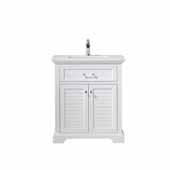 Lorna 30'' Width Single Vanity in White with Composite Carrara White Stone Countertop, No Mirror, 30'' W x 22'' D x 34'' H