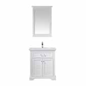 Lorna 30'' Width Single Vanity in White with Composite Carrara White Stone Countertop and Mirror, 30'' W x 22'' D x 34'' H
