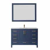Shannon 48'' Single Vanity in Royal Blue with Composite Carrara White Stone Countertop with Mirror