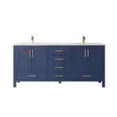 Shannon 72' Width Double Vanity Set in Royal Blue with Composite Carrara White Stone Countertop, Sinks, No Mirrors