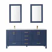 Shannon 72' Width Double Vanity Set in Royal Blue with Composite Carrara White Stone Countertop, Sinks and Two Mirrors