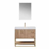 Alistair 36'' Single Vanity in North American Oak with White Grain Stone Countertop and Mirror