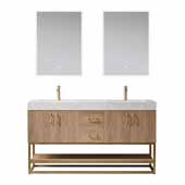 Alistair 60' Double Vanity in North American Oak with White Grain Stone Countertop and Mirrors