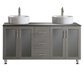 Tuscany 60'' Double Vanity Set In Grey With White Vessel Sink, Glass Countertop, 60-3/8''W x 22-3/16''D x 36-3/8''H