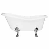 62'' Dolomite Mineral Composite Clawfoot Slipper Tub with Polished Chrome Feet and Drain Assembly, 62''W x 30''D x 24''H