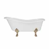 66'' Dolomite Mineral Composite Clawfoot Slipper Tub with Antique Brass Feet and Drain Assembly, 66''W x 30''D x 24-3/4''H