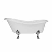 66'' Dolomite Mineral Composite Clawfoot Slipper Tub with Polished Chrome Feet and Drain Assembly, 66''W x 30''D x 24-3/4''H