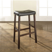 Upholstered Saddle Seat Bar Stools in Vintage Mahogany Finish with 29 Inch Seat Height, Set of Two