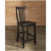 School House Bar Stools in Black Finish with 24 Inch Seat Height, Set of Two