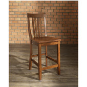 School House Bar Stools in Classic Cherry Finish with 24 Inch Seat Height, Set of Two