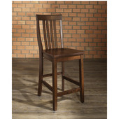 School House Bar Stools in Vintage Mahogany Finish with 24 Inch Seat Height, Set of Two