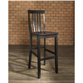 School House Bar Stools in Black Finish with 30 Inch Seat Height, Set of Two