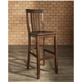 School House Bar Stools in Mahogany Finish with 30 Inch Seat Height, Set of Two