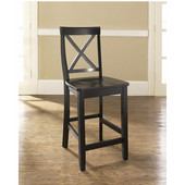 X-Back Bar Stools in Black Finish with 24 Inch Seat Height, Set of Two