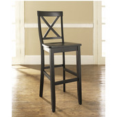 X-Back Bar Stools in Black Finish with 30 Inch Seat Height, Set of Two