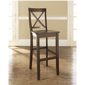 X-Back Bar Stools in Mahogany Finish with 30 Inch Seat Height, Set of Two