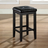 Upholstered Square Seat Bar Stool in Black Finish with 24 Inch Seat Height, Set of Two
