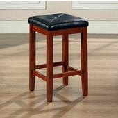 Upholstered Square Seat Bar Stool in Classic Cherry Finish with 24 Inch Seat Height, Set of Two