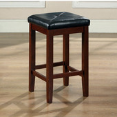Upholstered Square Seat Bar Stool in Vintage Mahogany Finish with 24 Inch Seat Height, Set of Two
