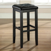 Upholstered Square Seat Bar Stool in Black Finish with 29 Inch Seat Height, Set of Two