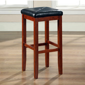 Upholstered Square Seat Bar Stool in Vintage Mahogany Finish with 29 Inch Seat Height, Set of Two