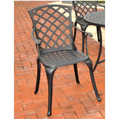 Sedona Cast Aluminum High Back Arm Chair in Charcoal Black Finish, Set of Two