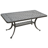 Sedona Cast Aluminum Rectangular Cocktail Table in Charcoal Black Finish